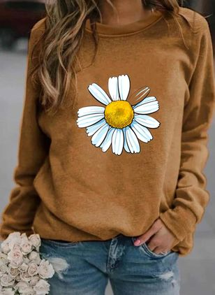 Floral Round Neck Long Sleeve Spring T-shirts (100547201)