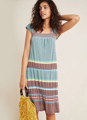 Color Block Short Sleeve Knee-Length Shift Dress