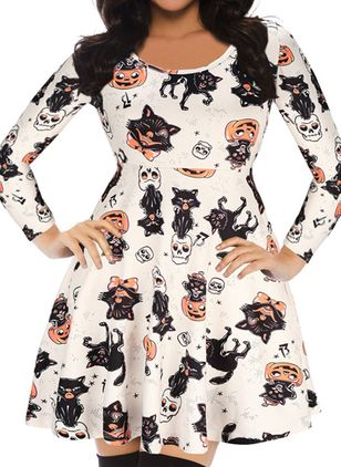 Halloween Color Block Skater Round Neckline X-line Dress (109973537)