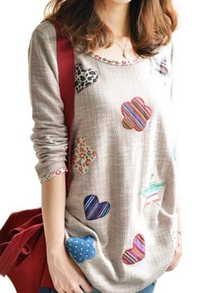Round Neckline Geometric Cute Loose Long Sweaters (1437570)