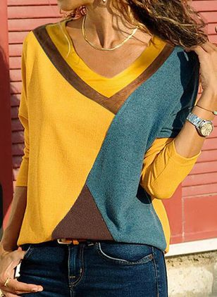 Color Block Casual V-Neckline Long Sleeve Blouses (146664455)
