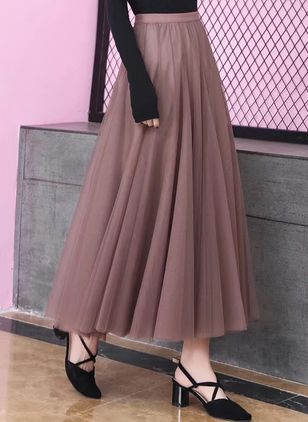 Solid Mid-Calf Casual Skirts (100547301)