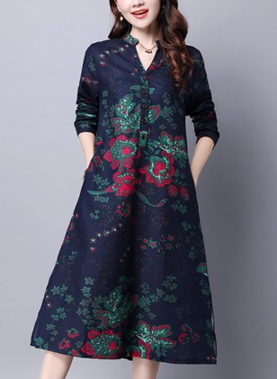 Floral Buttons Shirt Knee-Length Shift Dress