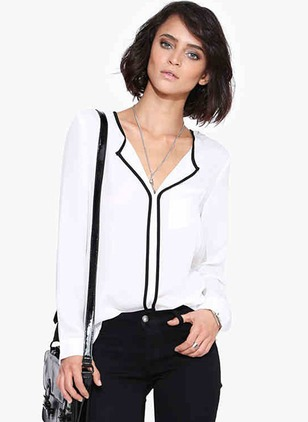 Solid Casual Acrylic V-Neckline Long Sleeve Blouses