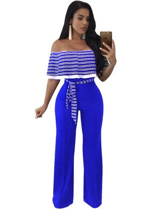 Nylon Stripe Short Sleeve Jumpsuits & Rompers