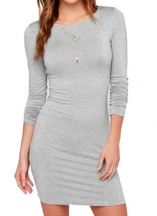 Solid Tshirt Long Sleeve Above Knee Sheath Dress