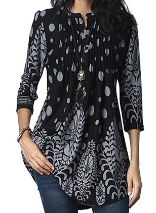 Floral Buttons 3/4 Sleeves Shift Dress
