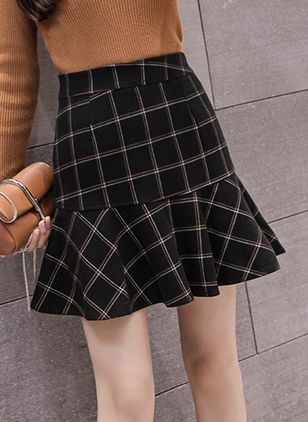 Check Above Knee Casual Ruffles Skirts