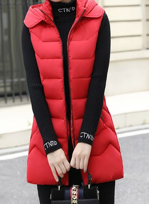 Long Sleeve High Neckline Zipper Pockets Parkas Sleeveless Coats (109556574)