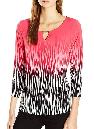 Color Block Casual Cotton 3/4 Sleeves Blouses