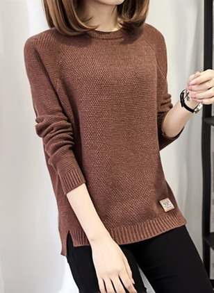 Round Neckline Solid Regular None Sweaters