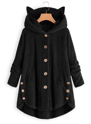 Long Sleeve Hooded Buttons Pockets Parkas Coats (107251306)