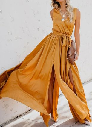 Solid Wrap Sleeveless Maxi X-line Dress
