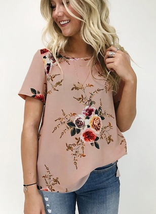 Floral Casual Polyester Round Neckline Short Sleeve Blouses