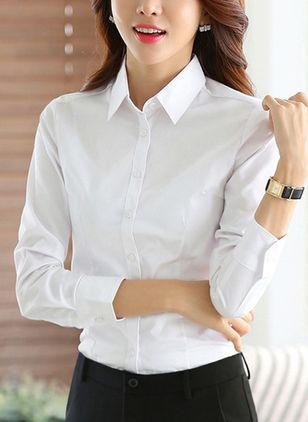 Solid Elegant Collar Long Sleeve Blouses