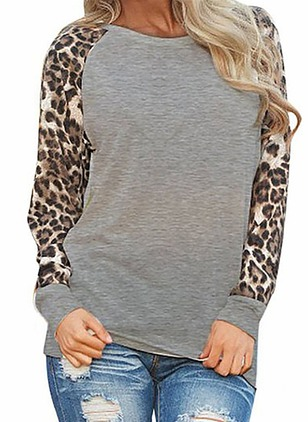 Leopard Casual Cotton Round Neckline Long Sleeve Blouses
