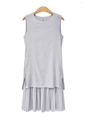Chiffon Cotton Blends Solid Sleeveless Above Knee Sexy Dresses