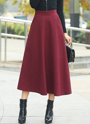 Polyester Cotton Blends Solid Mid-Calf Casual Pockets Skirts