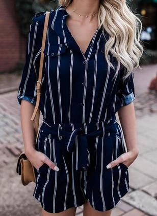 Polyester Stripe Half Sleeve Casual Jumpsuits & Rompers