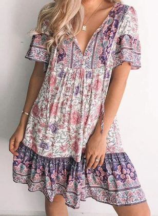 Casual Floral Tunic V-Neckline Shift Dress (147037709)