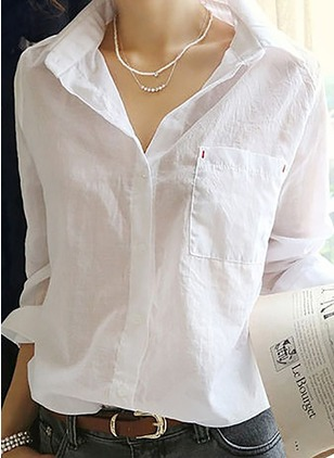 Solid Casual Cotton Collar Long Sleeve Blouses