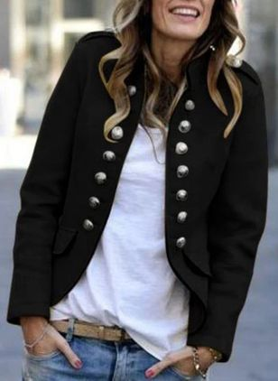 Long Sleeve Stand Collar Buttons Pockets Jackets (1494568)
