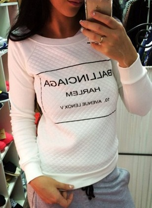 Alphabet Casual Cotton Round Neckline None Sweatshirts