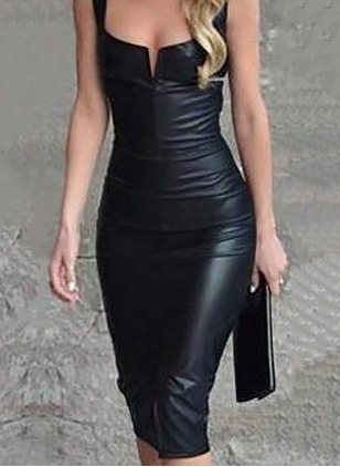 Solid Pencil Sleeveless Knee-Length Sheath Dress