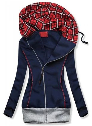 Plaid Casual Hooded Zipper Sweatshirts (120649352)