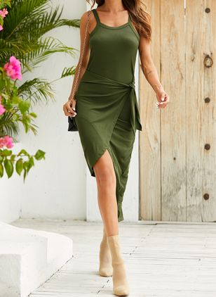 Sexy Solid Wrap Camisole Neckline Sheath Dress (146718388)