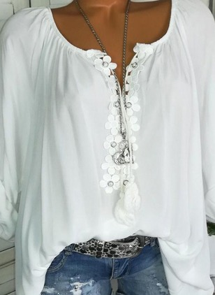 Solid V-Neckline Long Sleeve Blouses (4663056)