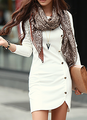 Solid Buttons Pencil Long Sleeve Sheath Dress