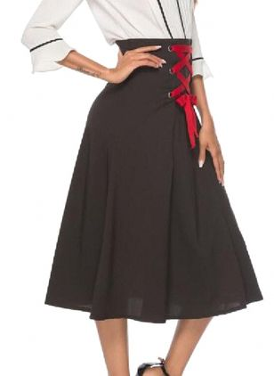 Solid Mid-Calf Casual Sashes Skirts (106154127)