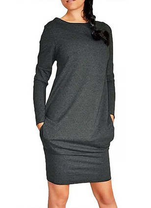 Polyester Solid Long Sleeve Midi Dresses
