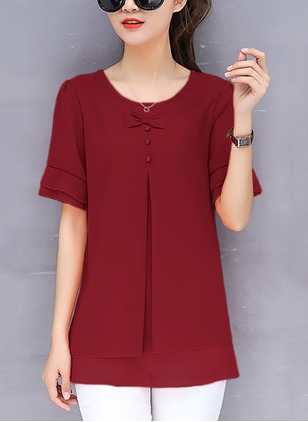 Chiffon Character Round Neck Short Sleeve Casual T-shirts