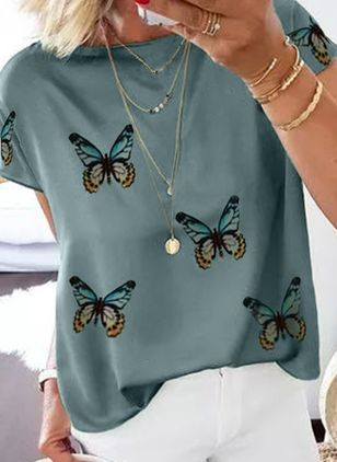 Animal Casual Round Neckline Short Sleeve Blouses (4088550)