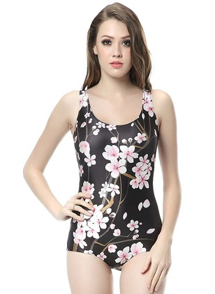 Polyester Halter Flowers One-piece Swimwear