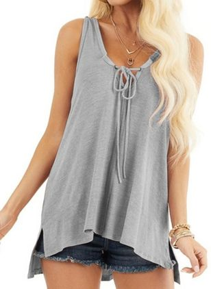 Solid Casual V-Neckline Sleeveless Blouses (146993185)