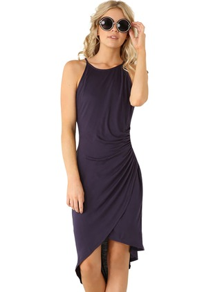 Solid Wrap Camisole Neckline Knee-Length Shift Dress