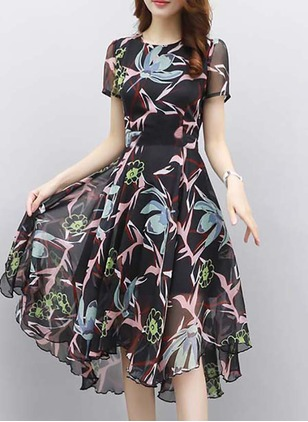 Floral Zipper Short Sleeve Knee-Length A-line Dress