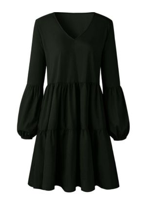 Solid Ruffles Long Sleeve Knee-Length Shift Dress