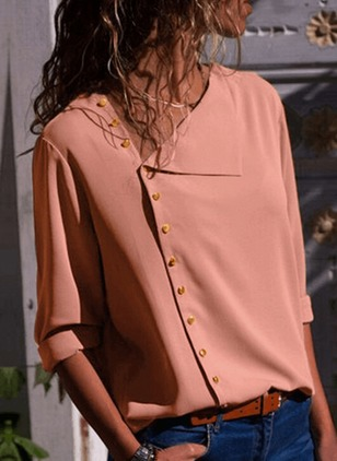 Solid Casual Polyester Long Sleeve Blouses