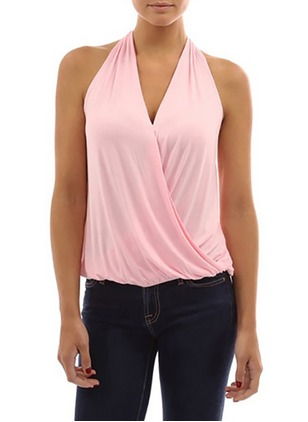 Polyester Solid Halter Neckline Sleeveless Sexy T-shirts