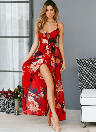 Floral Sashes Slip Camisole Neckline A-line Dress