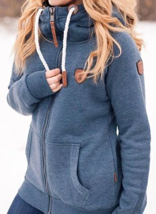Solid Casual High Neckline Pockets Zipper Sweatshirts (112602203)