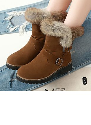 Women's Buckle Ankle Boots Nubuck Low Heel Boots