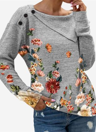 Round Neckline Floral Casual Regular Buttons Sweaters (131285165)