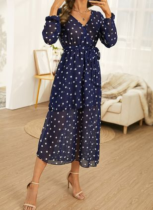Elegant Polka Dot Tunic V-Neckline X-line Dress (146834224)