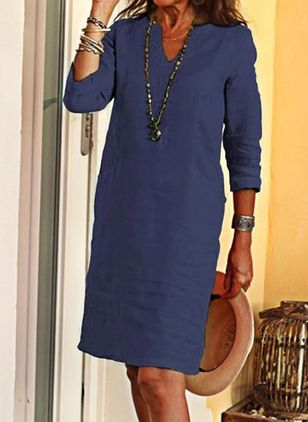 Casual Solid Tunic V-Neckline A-line Dress (4369799)