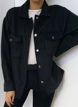 Long Sleeve Collar Buttons Pockets Coats Jackets (116140279)